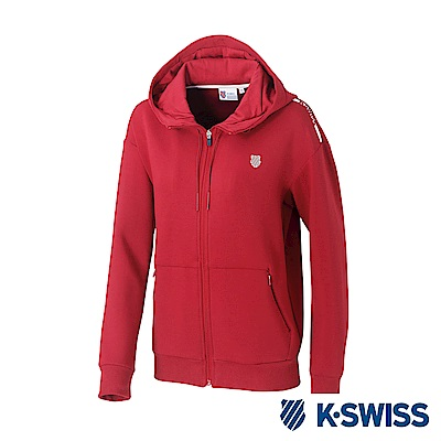 K-SWISS Hooded Sweat Zip up女時尚連帽外套-女-酒紅