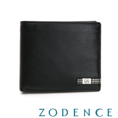 ZODENCE MAN格紋系列進口牛皮三層透明窗11卡短夾 黑