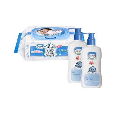 貝恩Baan NEW嬰兒保養柔濕巾80抽24入+貝恩Baan 嬰兒沐浴精/200ml*2
