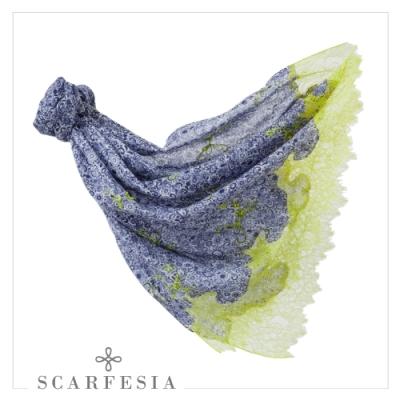 【Scarfesia】印花蕾絲印度胎羊毛手工披肩(共三色)