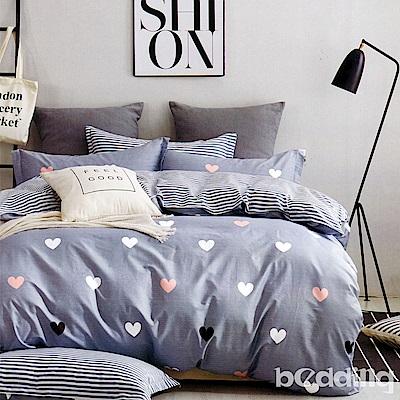 BEDDING-專櫃純棉6尺加大雙人薄式床包涼被四件組-許願精靈-灰