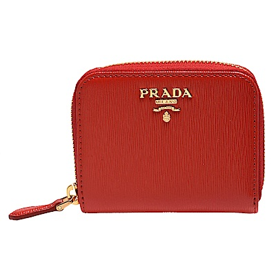 PRADA 經典金色浮雕LOGO防刮牛皮拉鍊卡夾/零錢包(紅)
