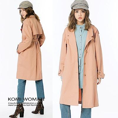 KOMI-素面口袋翻領風衣外套