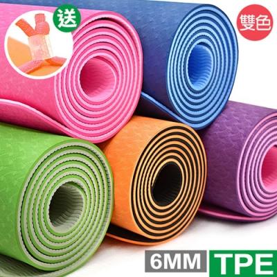 加長TPE雙層6MM瑜珈墊(送綁繩) 運動墊防滑墊止滑墊