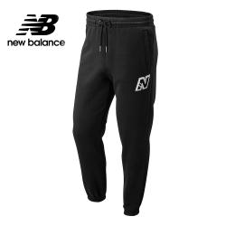 New Balance N字LOGO刷毛束口長褲_男_黑色_MP83551BK