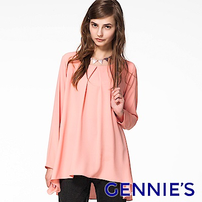 Gennies專櫃-簡約素色雪紡前短後長上衣(粉橘)C3803
