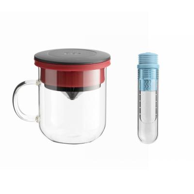 【PO:Selected】丹麥咖啡泡茶兩件組 (咖啡玻璃杯350ml-黑紅/試管茶格-藍)