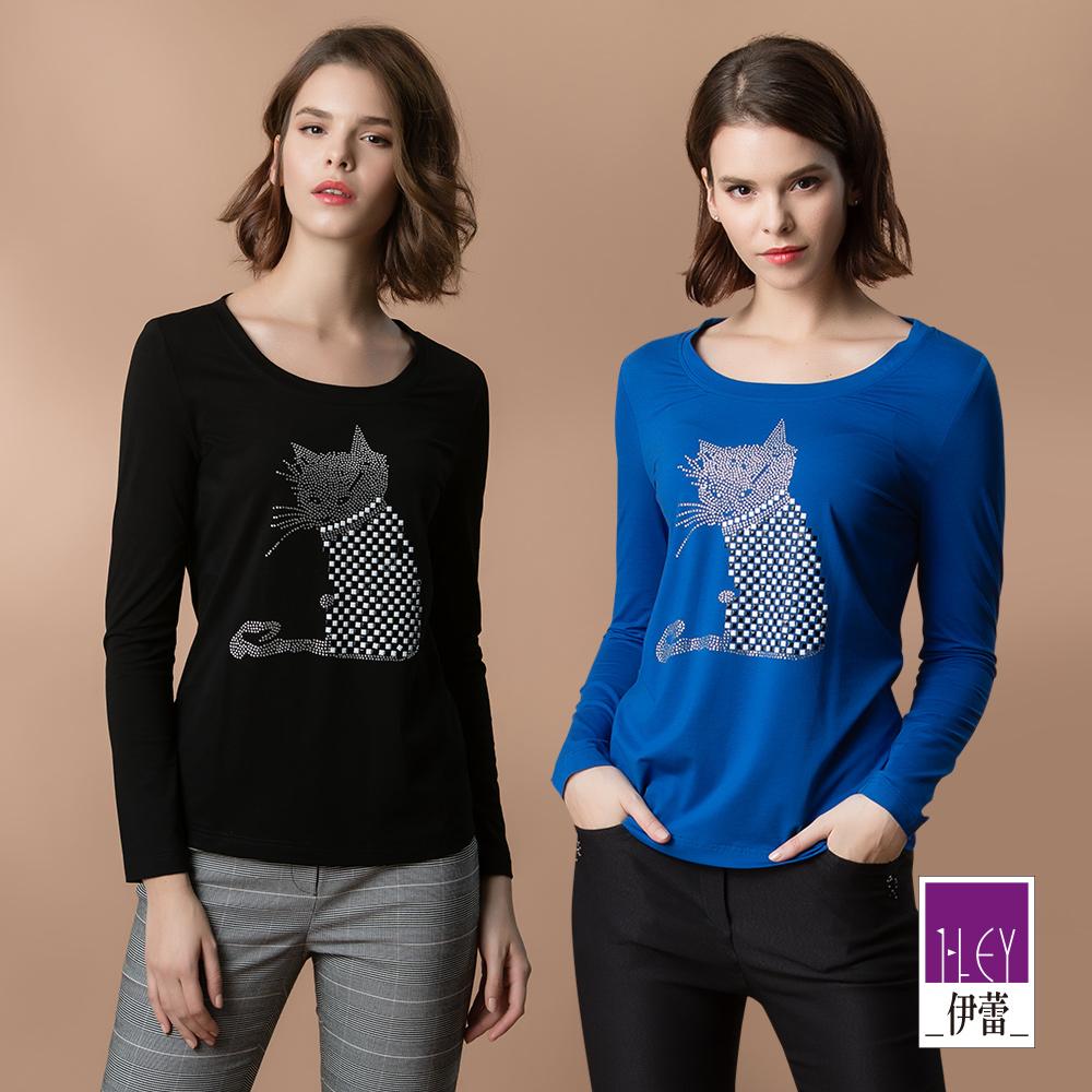 ILEY伊蕾 鑽飾馬賽克貓咪棉質上衣(黑/藍)