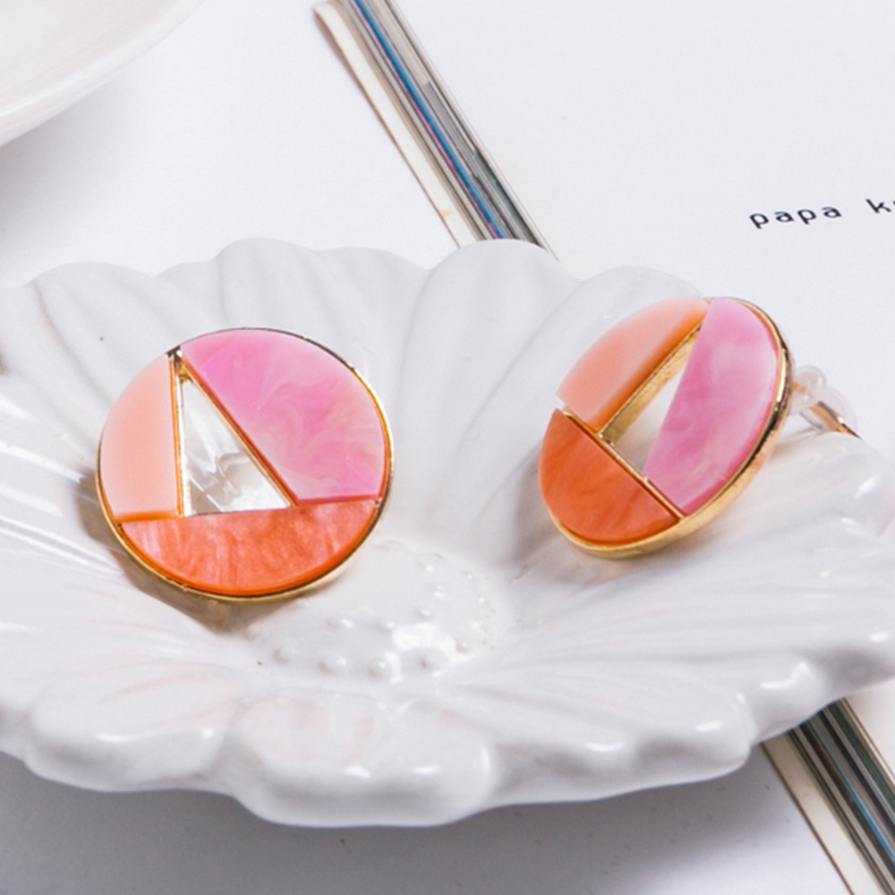 Prisme美國時尚飾品 繽紛大理石 金色耳環 耳針式
