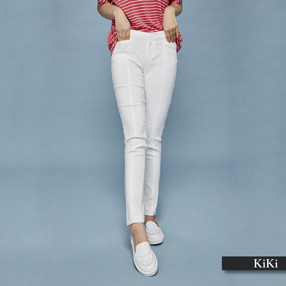 【KiKi】修身簡約風-長褲(白色)