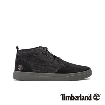 Timberland 男款黑色磨砂革拼接休閒鞋|A221T