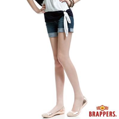 BRAPPERS 女款 BoyFriendJeans系列-中低腰彈性反折短褲-淺藍