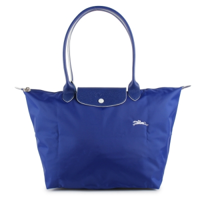 LONGCHAMP Le Pliage Club經典長提把大型尼龍水餃包(鈷藍色/白色)