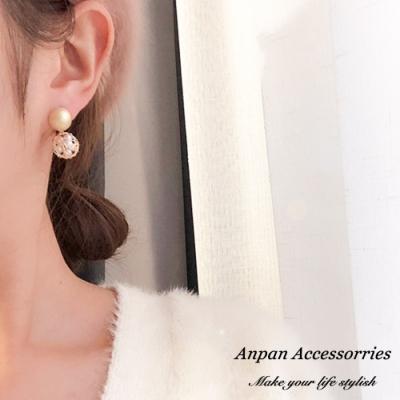 【ANPAN愛扮】韓東大門復古金屬網狀珍珠燈籠球925銀耳釘式耳環