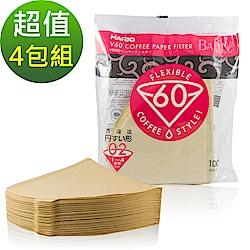 【HARIO】V60 日本製 4人份無漂白濾紙 400張(VCF-02-100M*4)