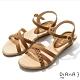 DIANA 3.5cm 質感牛皮編織線條交織楔型涼鞋-咖啡糖 product thumbnail 1