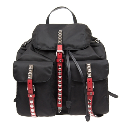 PRADA 新款 經典尼龍鉚釘鑲嵌 磁釦雙口袋後背包 (大款/紅色皮帶)