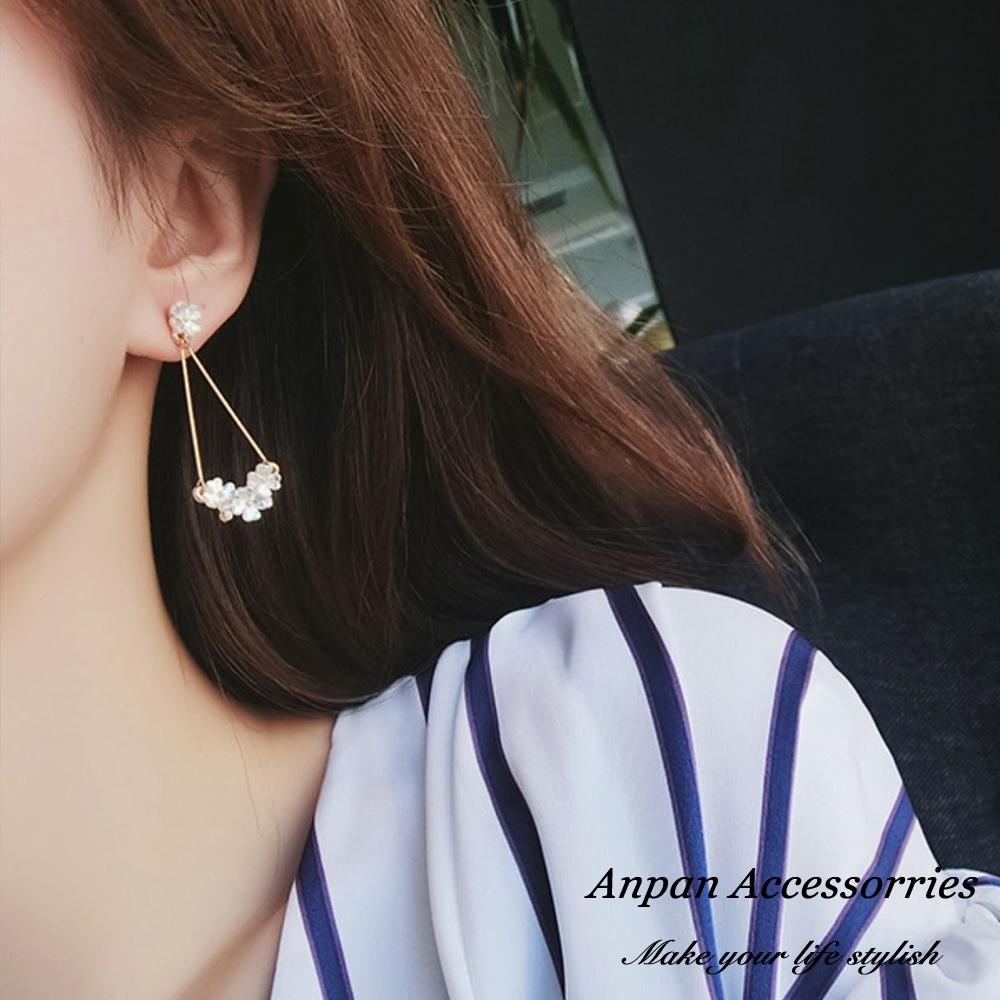 【全館五折】ANPAN愛扮925銀針韓東大門優雅貝殼花叢耳環