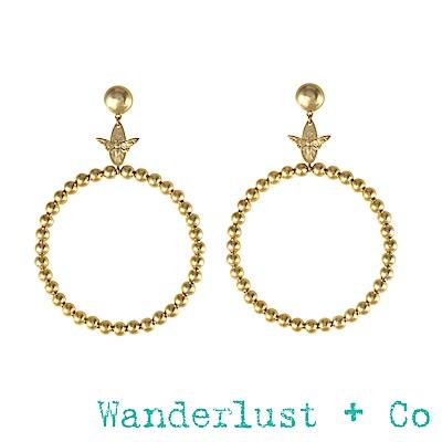 Wanderlust+Co蜜蜂圓圈耳環