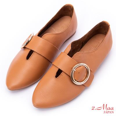 2.Maa 素面飾釦牛皮尖頭懶人鞋 - 棕色