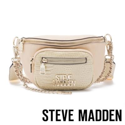 STEVE MADDEN-BMAMBAS 金鍊皮質斜背肩背腰包-金杏色