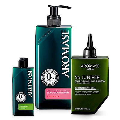 AROMASE艾瑪絲 捷利爾玫瑰控油洗髮組(玫瑰控油400+HC+控油90)