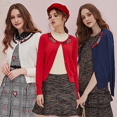 OUWEY歐薇 蝴蝶綁帶金屬扣環針織外套(米/藍/紅)