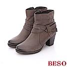 BESO 簡約知性 真皮擦色雙繞帶粗跟短靴~灰色