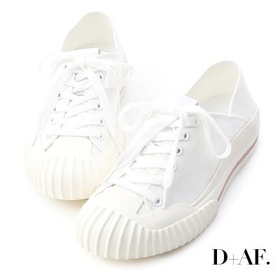 D+AF 街頭主流.奶油頭後踩式帆布休閒鞋*白