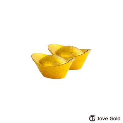 Jove Gold 漾金飾 0.5台錢加大版黃金元寶x2-招財進寶(共1台錢)