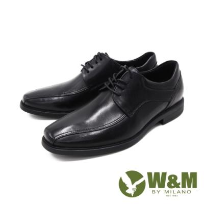 W&M(男)方頭雙車線綁帶正裝鞋 男鞋 -黑