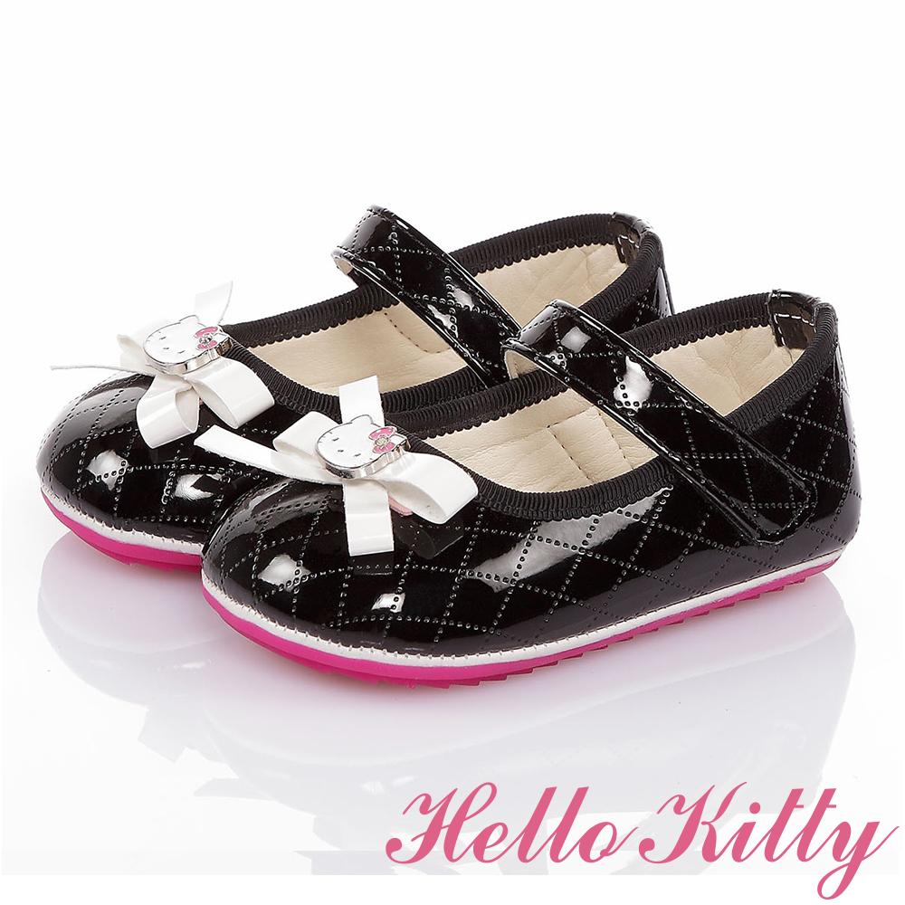HelloKitty童鞋 氣質手工款高級超纖皮減壓寶寶學步鞋-黑