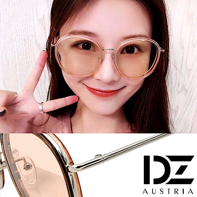 DZ 潮人層圓框 抗UV防曬太陽眼鏡墨鏡(銀框茶片)
