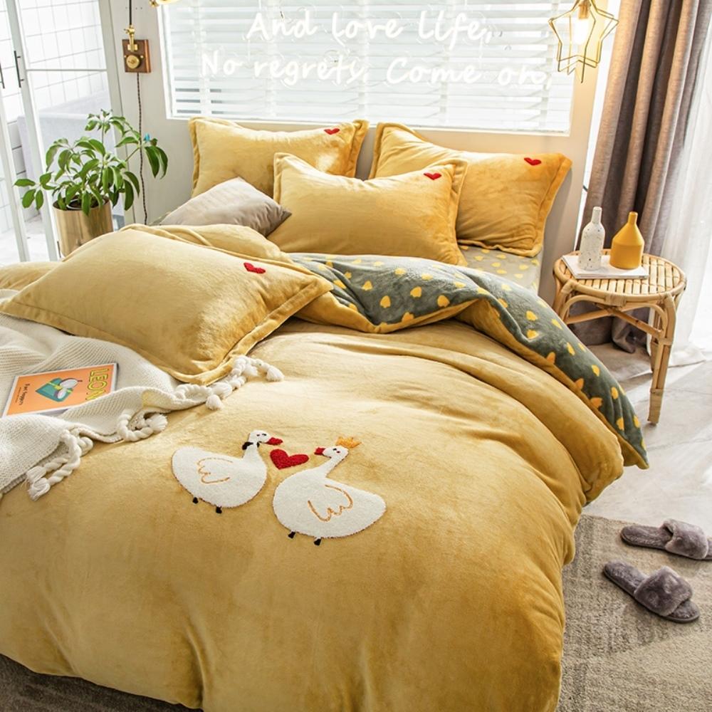 BUNNY LIFE 愛心鵝-雙人-極柔牛奶絨毛巾繡床包四件組
