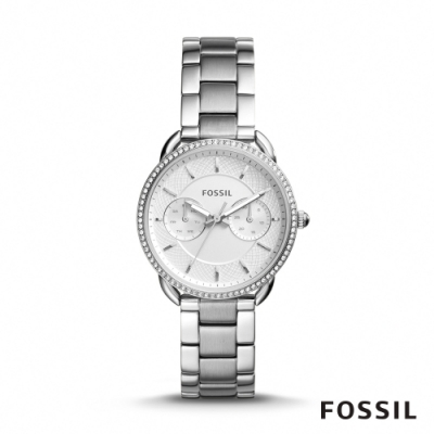 FOSSIL TAILOR 銀色鑲鑽多功能不鏽鋼女錶(ES4262)-35mm