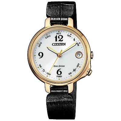 CITIZEN 星辰光動能藍芽連線真皮手錶EE4022-16A-白X金框/33mm
