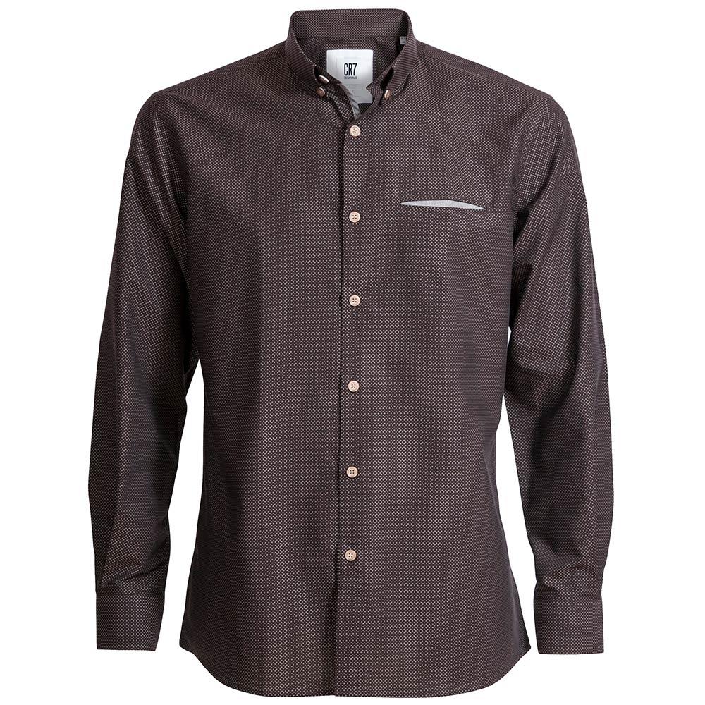 CR7-雙扣領細圓點修身版襯衫-深咖啡 (8651-7200-88)