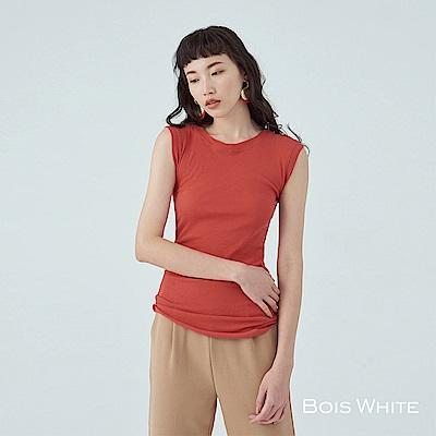 Bois White- 包袖透膚短袖上衣- 橘