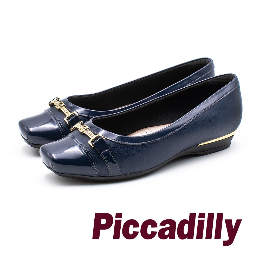 Piccadilly 龐克風限量方頭拼接娃娃女鞋- 藍 (另有黑)