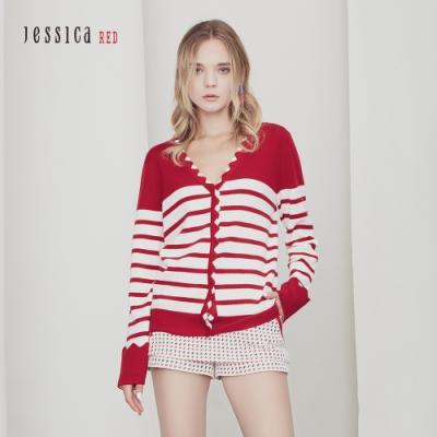 JESSICA RED -  經典百搭紅白條紋撞色邊V領針織外套