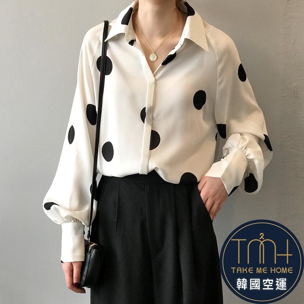 秋季新款 大圓點雪紡襯衫-2色-TMH