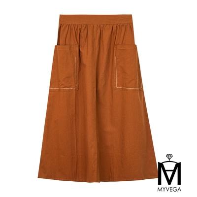 MYVEGA麥雪爾 MA純棉兩側口袋休閒長裙-咖啡
