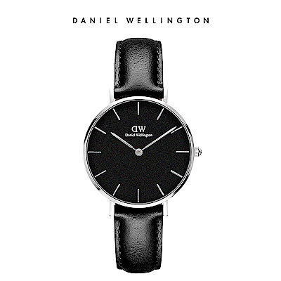 DW 手錶 官方旗艦店 32mm銀框 Classic Petite 爵士黑真皮皮革錶