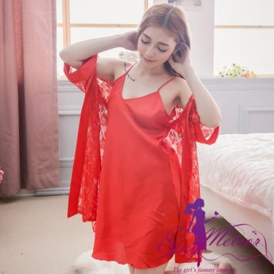 睡衣 全尺碼 緞面細肩睡裙+蕾絲花紗罩衫睡袍二件式睡衣組(熱情紅) Sexy Meteor