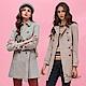 OUWEY歐薇-時髦復古格紋雙排扣長版風衣外套-粉