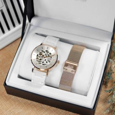 NATURALLY JOJO / 機械錶 自動上鍊 鏤空 陶瓷手錶-白x玫瑰金框/40mm