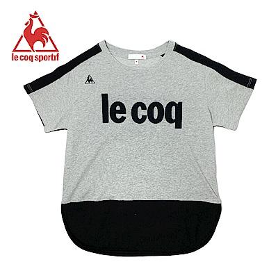 le coq sportif 法國公雞牌運動網布剪接短袖T恤 女-灰