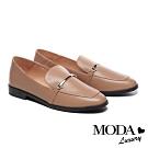 低跟鞋 MODA Luxury 復古文青金屬條釦全真皮樂福低跟鞋-杏