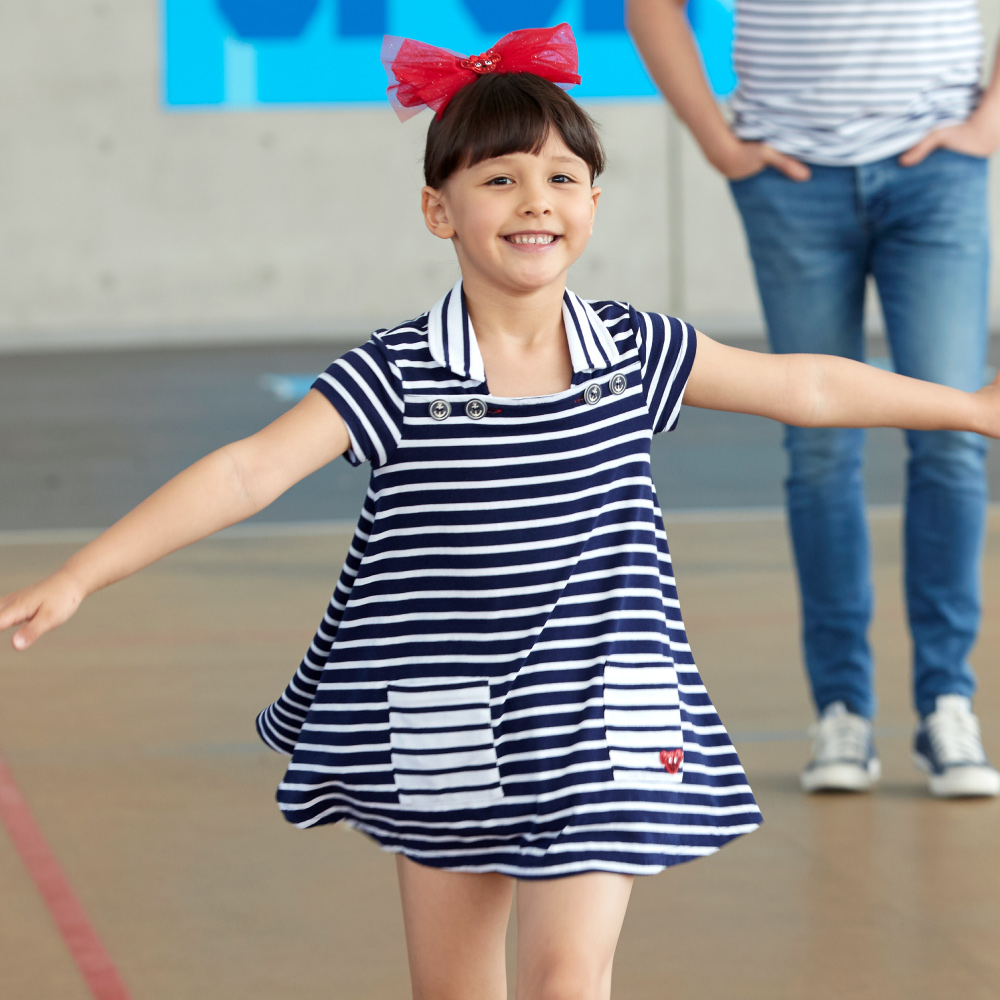 WHY AND 1/2 mini 條紋棉質萊卡洋裝-親子裝