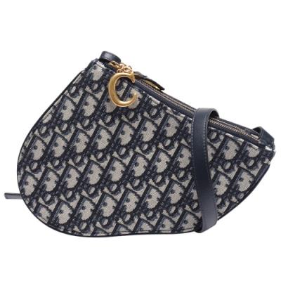Dior Saddle系列經典OBLIQUE緹花布小牛皮飾邊三層拉鍊斜背包(藍)